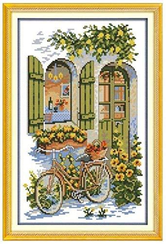 Kreuzstich,Stickpackung Stickbild Stickvorlage Sticken Stickset - Blumenfahrrad 40X50Cm Kreativität Home Decor 11CT (Vorgedruckte Leinwand)