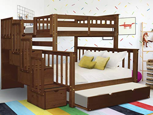 Bedz King Stairway Bunk Beds Twin over Full with 4 Drawers in the Steps and a Twin Trundle, Espresso