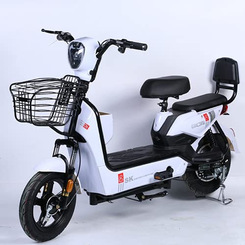 Electric Bicycles Street Legal and Fully Automatic Adult Electric Moped Scooter with Suitcase-Choose Your Color (Black)
