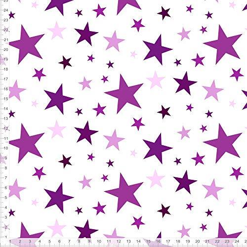 Stoff für Mädchen und Kinder mit Sternen in Lila und Weiß zum Nähen - andere Farben möglich