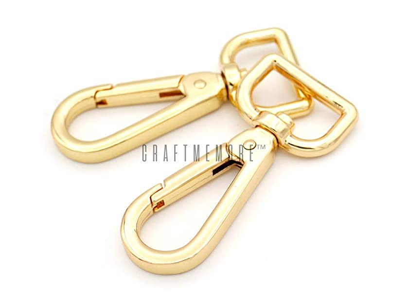 CRAFTMEmore 2PCS 3/4 Inch Push Gate Snap Hooks Metal Swivel Lobster Claw Clasp Purse Hardware (Gold)