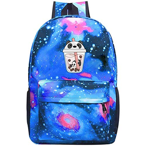 2588 Panda in Boba Drink Galaxy Backpack Casual Daypack Travel Laptop Bag for Girls Boys