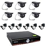 Kit Videosorveglianza Esterno, Sistema di Sorveglianza Cloud DVR AHD 8 Canali + 6x Telecamere AHD, Registrazione 24/7, H264, Accesso da remoto