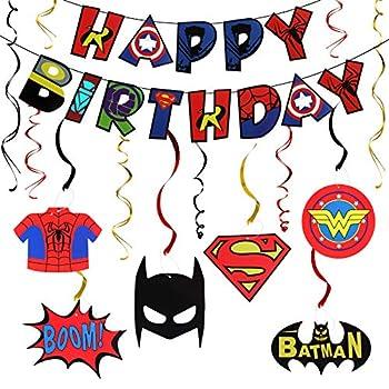 LINGTEER Superhero Decorations Set - Happy Birthday Bunting Banner Superhero Hanging Swirls Streamers Action Sign Perfect for Kids Birthday Party Decorations.