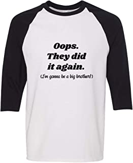 Oops They Did Gonna Be A Big Brother! 3/4 Sleeve Boys-Girls Raglan T-Shirt