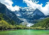 GooEoo 10x8ft 緑の山々、澄んだ湖、木々、自然の風景、青い空、旅行の肖像画、子供の写真スタジオの小道具、家族のパーティー、誕生日の背景、ベビーシャワーのビニール素材