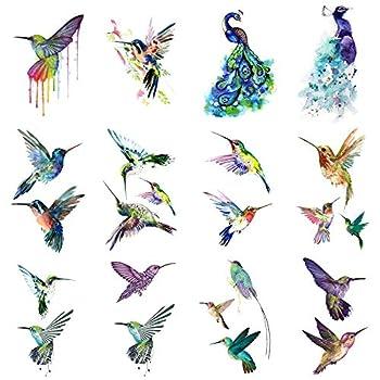 WYUEN 12 PCS Hummingbirds Temporary Tattoo Sticker for Women Men Fashion Body Art Adults Waterproof Hand Fake Tatoo 9.8X6cm  FW12-13