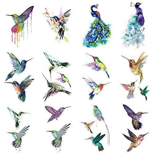 WYUEN 12 STÜCKE Kolibris Temporäre Tattoo Aufkleber für Frauen Männer Mode Körperkunst Erwachsene Wasserdichte Hand Gefälschte Tatoo 9,8X6 cm W12-13