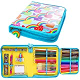 GirlZone: Rainbow Jumbo Arts and Crafts Filled Stationery Pencil Case for Girls, Great Gift for Girls