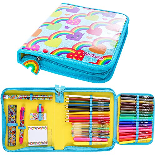 GirlZone Rainbow Jumbo Arts and Crafts Filled Stationery Pencil Case for Girls, Great Gift for Girls