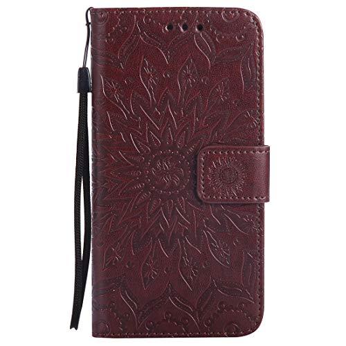 Nancen Compatible with Handyhülle Huawei P7 Hülle,Huawei Ascend P7 (5 Zoll) Leder Wallet Tasche Brieftasche Schutzhülle, Nancen Prägung Sonnenblume Muster