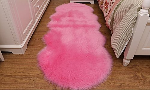 Pink Faux Fur Sheepskin Rug