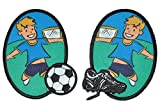 alles-meine.de GmbH 2 TLG. Set ovaler Flicken / Bügelbild - Fußballer / Fußball - 7,5 cm * 10 cm - oval - Bügelbilder - Aufnäher zum Bügeln und Aufnähen / Applikation für Jungen ..