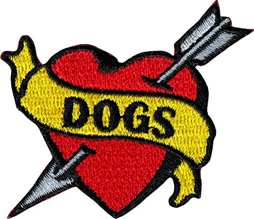 Dogs Banner on Heart with Arrow - Tattoo Flash Style - Embroidered Iron On or Sew On Patch