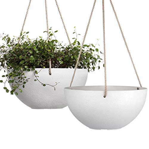 Maceta Colgante - 25 CM jardineras Exterior, Maceta con Agujeros de Drenaje, Maceta Blanca, Set de 2
