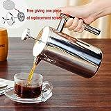 Französische Presse Kaffeemaschine, Doppelwandig Edelstahl Kaffeebereiter Isoliert Kaffee Presse...