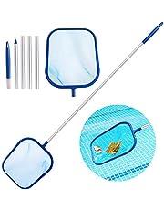 Aiglam Recogehojas de Piscina, Kits de Mantenimiento con Red de Malla Fina y Mango de aluminio de 120cm, Pool Skimmer Net para Red de Limpieza de Piscinas y Suciedad del Fondo