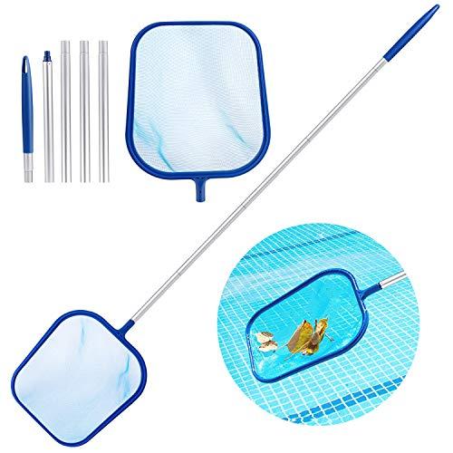 Aiglam Pool Kescher, Poolreinigungsset mit Feinmaschig Netz Sieb und 120cm Aluminium Stange, Handkescher Skimmer für Dreck, Blätter