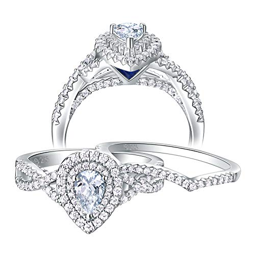 Newshe Wedding Rings for Women Engagement Ring Sets Sterling Silver Cz 1.7Ct Pear Teardrop Size 7