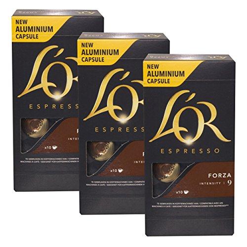 Douwe Egberts L 'OR Espresso Bruin Forza, Cápsulas de Café, compatible con Nespresso, gorda Café Tostado, 30Cápsulas de café