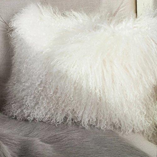 unite down Deluxe Home Decorative Rectangular Soft Plush 100% Real Mongolian (Tibetan) Lamb Wool Pillow/Cushion Cover/Case(12x20inch, White)