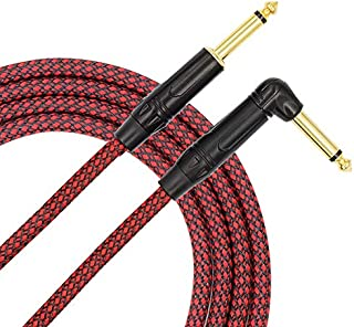 TISINO Guitar Instrument Cable 6ft 1/4 inch Straight to Right Angle Bass Cable Cord - Red