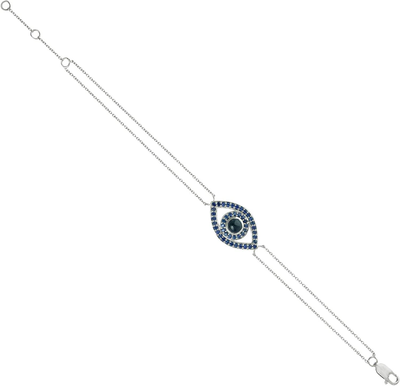 Natural Sapphire Chain Bracelet 14k Gold Selling rankings Jewelry 1.53ct Phoenix Mall White