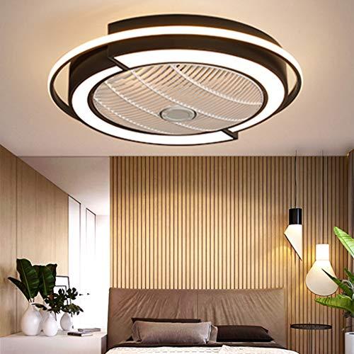 LED Deckenventilator Modern Unsichtbares Fan Deckenleuchte Licht Einstellbar Beleuchtung Schlafzimmer Deckenlampe Dimmbar Wohnzimmer Leuchte Mit Fernbedienung Leise Ventilator Kinderzimmer Fan Schwarz