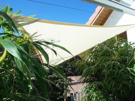 YACCU Sonnensegel WASSERDICHT Dreieck 5 x 5 x 5 m Natur-Creme