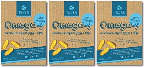 Testa Omega-3 Aceite de Algas cápsulas de 450mg Omega-3 Vegano DHA + EPA - (180 cápsulas)