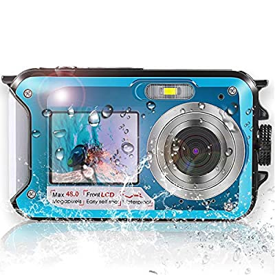 Waterproof Camera,Underwater Camera with Dual Screen, Full HD 2.7K 48MP Rechargeable Digital Camera with Self-Timer and 16X Digital Zoom, for Snorkeling, Diving, Swimming, Camping from