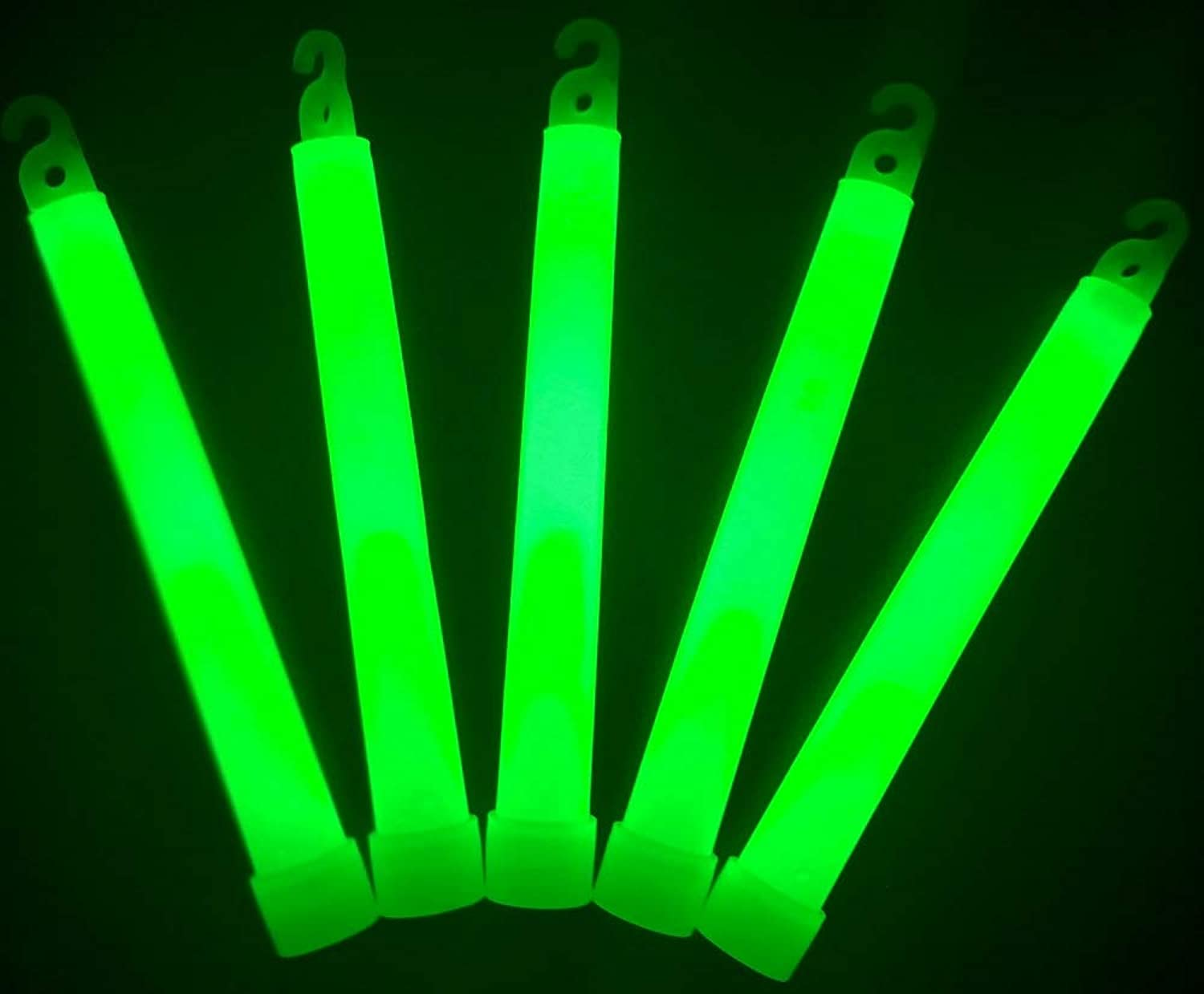"Glow Sticks Bulk Wholesale, 25 6"" Industrial Grade Green Light Sticks. Bright color, Glow 12-14 Hrs, Safety Glow Stick with 3-year Shelf Life, Glow With Us Brand"