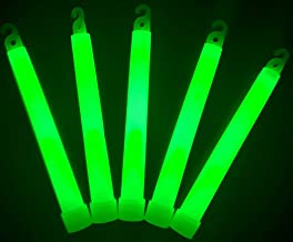 "Glow Sticks Bulk Wholesale, 25 6"" Industrial Grade Green Light Sticks. Bright Color, Glow 12-14 Hrs, Safety Glow Stick with 3-Year Shelf Life, GlowWithUs Brand"