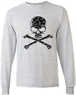 Men's/Unisex Biker Black Skull and Cross Bones Long Sleeve T-Shirt