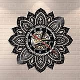 BFMBCHDJ Mandala Wall Art Vinyl Record Reloj de Pared Lotus Flower of Life Mandala Yoga Buddha Ornament Geometric Wall Decor Regalo para Ella