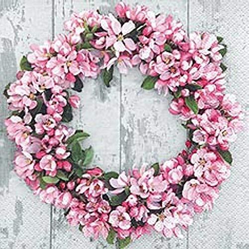 Linoows Serviettes 20 Pièce, Printemps Romantique Couronne à Fleur En Apfelblüten 33x33 CM