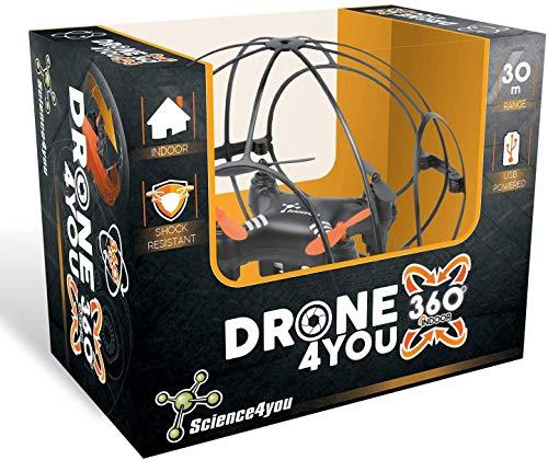 Drone4you 360 Indoor - Mini Drone con Cámara y Controlo Remoto, 360º Rotación y 3 Velocidades, Altitude 30m, Adecuado para Interiores, Mini Drone para Niños