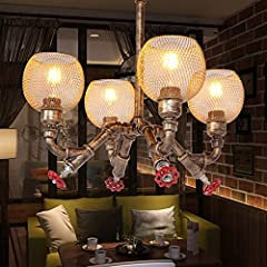 OUUED 4-Lights Industrial Vintage Rustic Steampunk Chandeliers Metal Iron Waterpipe Retro Ceiling Pendant E27 Edison Antique Lamp Restaurant Bar Cafe Chandelier #2