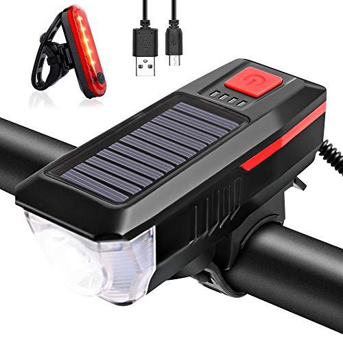 Bcamelys Fahrradlicht,Led Fahrradlichter Set mit Solar,Frontlicht Rücklicht mit 3 Licht-Modi,Bike Light mit Lautsprech,USB Aufladbar 2000Mah,350Lumen,Fahrradzubehör,Stabil,Wasserdicht,Rot