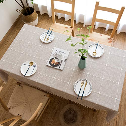 WHDJ Plaid Tablecloths Tassel,Cotton Linen Anti-Wrinkle Soft Table Cloth for Home,No-Slip Anti-Pilling Durable Table Cover