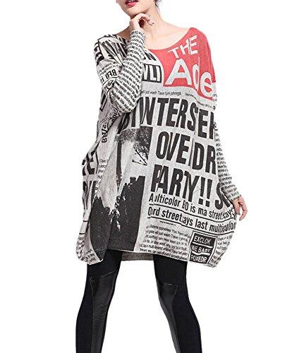 LATH.PIN Damen Baggy modern Bedruckt Rundhals Pullover Kleid OneSize