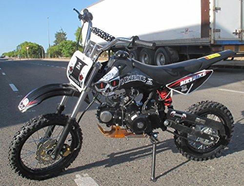 Pit Bike 125CC 14/12 SKULL/Dirt Bike con motor de 4 tiempos y arranque eléctrico. Mini moto de cross para adulto o niños de edad avanzada.
