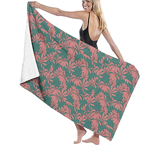 EXking Rode esdoornblaadjes en donkergroene microvezel handdoek badhanddoek badkamerbrand zwemmen superzachte superabsorberende handdoek