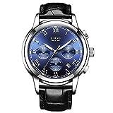LIGE Reloj Hombre Cronógrafo Impermeable Cuarzo analógico Cuero Acero Inoxidable Clásico Negro Deportivo Fecha/Calendario Reloj