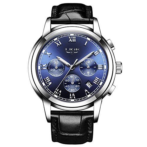 LIGE Herrenuhr Mode Edelstahl Chronographen Wasserdicht Analog Quarz Klassisch Business Blaues Zifferblatt Kalender Armbanduhr Leder Armband LG9810I