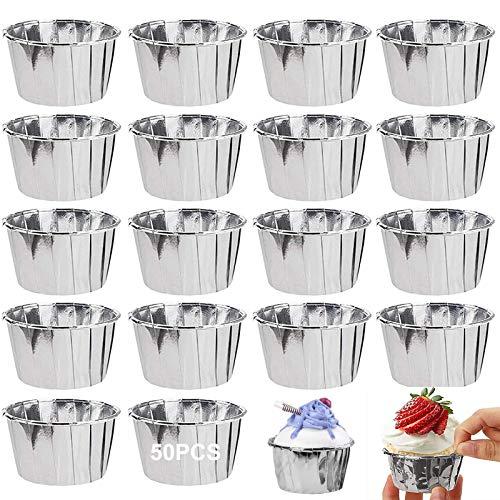 Latas Para Muffins 50 Pcs Forro Para Cupcakes Estuche Para Mini Muffins Tazas Para Hornear Moldes Hornear Papel Aluminio Para Pasteles Muffin Cupcake Pudines Jalea Fiesta Bodas Cumpleaños Decoración