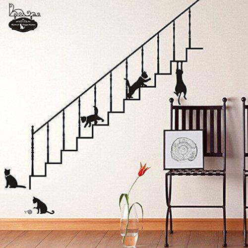 Bluelover Maison Bricolage Escalier Noir Chats Amovible Stickers Décoration Murale Autocollant Art
