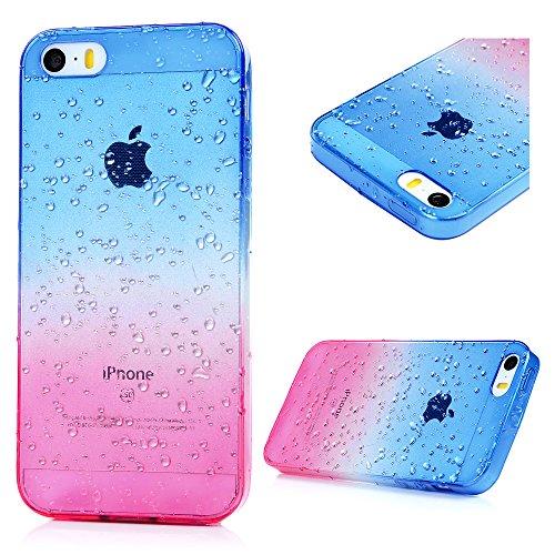 YOKIRIN Acessory Carcasa para iPhone 5, diseño de Gotas de Agua, Bicolor, TPU, Color Morado y Amarillo