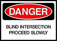 ブラインド交差点はゆっくりと危険を進行します メタルポスタレトロなポスタ安全標識壁パネル ティンサイン注意看板壁掛けプレート警告サイン絵図ショップ食料品ショッピングモールパーキングバークラブカフェレストラントイレ公共の場ギフト
