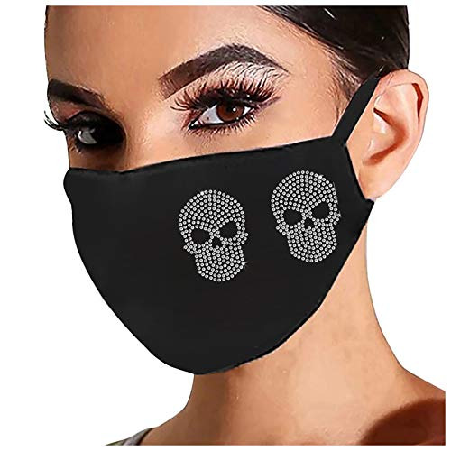Fridja Skull Drill Print Face Protection Adult Women Men,Fashion Breathable Ice Cotton Anti-dust Windproof Face Shield (Skull Mask C)